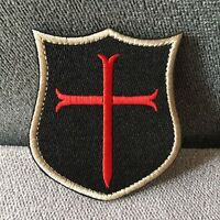 Embroidered Knight Templar Cross Crusader Morale Hook Loop Shield Patch Badge