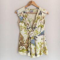 Yoana Baraschi Womens Size Small Cream Floral Print V-Neck Blouse Top