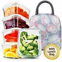 5 Pack 36.8oz Upgraded Meal Prep Containers with Lunch Bag Stackable Glass