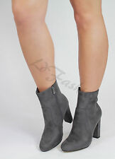 Womens Ladies Autumn Suede Ankle Boots Block High Heel Side Zip Shoes