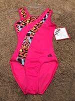 Adult Medium Alpha Factor Pink with Animal Print Gymnastics Leotard NWT!