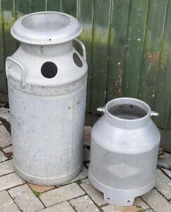 Pair of Aluminium Milk Churn Planters 1 X Large & 1 X Small