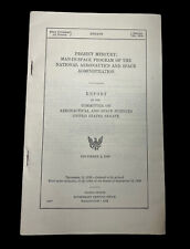 NASA Project Mercury U.S. Senate Aero & Space Committee Report December 1959