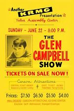 Country: Glen Campbell at Tulsa Assembly Center Concert Poster 1968 12x18