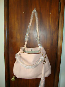 g.i.l.i. roma Oversized Convertible Blush Pink Leather Handbag with Tassel
