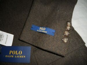 "Polo Ralph Lauren CUSTOM FIT Quality pure Wool Tweed Jacket Size uk 38R""Eur48R"