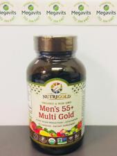 NutriGold Men's 55+ Multi Gold 90 Veg Caps. Plant-Based Whole Food Multivitamin