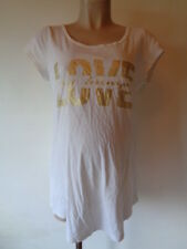 GEORGE MATERNITY WHITE & GOLD SLOGAN 'LOVE MY BUMP' T-SHIRT TOP SIZE 12
