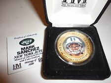 NY New York Jets Mark Sanchez medallion coin 24kt Gold Overlay with color