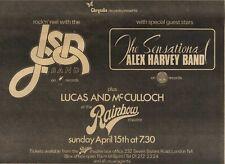 31/3/73Pgn21 Jsd Band, Alex Harvey Band At Rainbow Concert Advert 7x10