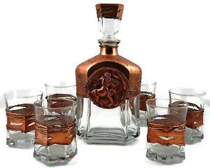 Set for Whiskey Decanter + 6 Glasses Handmade Copper Antique Scene Brand New