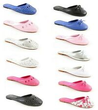 Femmes Neuf à Enfiler Cuissard Noeud Mules Chaussures Sandales Tongs Taille