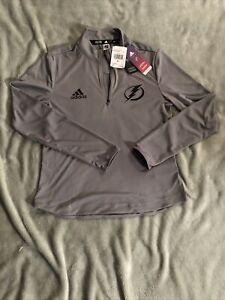Women's Adidas Tampa Bay lightning Pullover quarter zip gray SMALL NWT $75