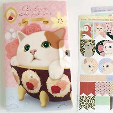 #76 choo choo cat in bowl cute deco stickers V3-2 with folder 8 sheets/set