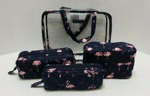 Vera Bradley Four Piece Flirty Flamingos Cosmetic Organizer