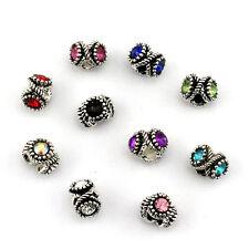10pcs mix LAMPWORK CZ big hole spacer beads fit Charm European Bracelet