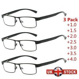 3 Pair Mens Reading Glasses Spring Hinges Business Metal 1.5 2.0 2.5 3.0 3.5 4.0