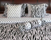 Bed-In-A-Bag Bedding Set Comforter 7 Pcs White Black Zebra Polka Dot Full