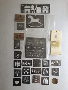 21 Vintage Country Stencils Tin Lot 1980s Alphabet America Holidays