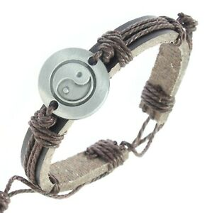 Men Silver Yin Yang Sign Brown Leather Cord Charm Cuff Bracelet Waistband Bungle