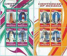 Rwanda 2010 Fari Phares Oceania Asia Lighthouses 2 Sheet Perf. CTO