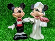 Vintage Rare Disney Figurine Salt Pepper Mickey Minnie Mouse Wedding Costumes