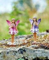 2 x Fairy Garden Pixie Statues Outdoor Ornaments Home Decoration Sculpture NEW