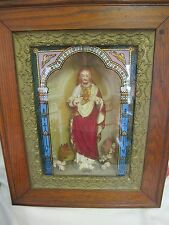 FRAMED VINTAGE  STATUE JESUS  RELIGIOUS PICTURE 3D ORNATE WOOD  FRAME SHADOW BOX