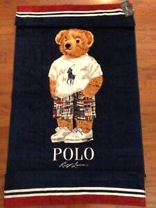 """NWT-POLO RALPH LAUREN Beach Towel LIMITED EDITION """"MADRAS POLO BEAR"""" 35""""x66"""""""
