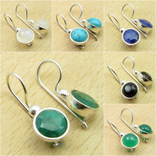 Simulated Emerald & Other Gemstone Variation To Pick, 925 Silver Plated Earrings