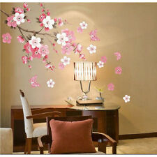 Removable Peach Plum Cherry Blossom Flower Butterfly Mural Wall Decal Stickers