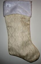 "PRIMA CREATIONS DECORATIVE CHRISTMAS STOCKING - 18"" -IVORY, WHITE, SPARKLE"