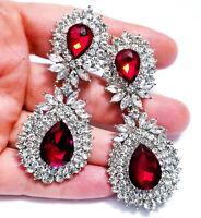 CLIP ON Peagant Chandelier Earrings Red Rhinestone 3 inch