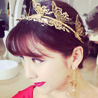 Women Gold Color Butterfly Fairy bride Party Hair Headband Crown Prop Garland