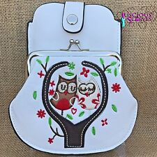 White Owl Purse Small bag with Phone Spectacles  Holder Long & Short Straps