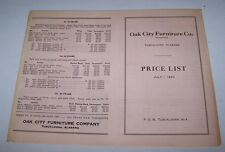 1930 OAK CITY FURNITURE CO Price List TUSCALOOSA ALABAMA