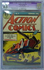 ACTION COMICS #9 CGC 6.5 9th App SUPERMAN 1939 Rare Off White/White Pgs