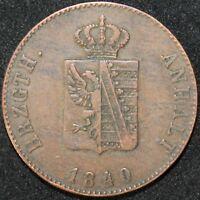 1840 | German States Anhalt-Bernburg 3 Pfennig | Copper | Coins | KM Coins