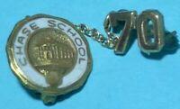 1970 CHASE School  Vintage 2 piece school pin, 1/10 10K