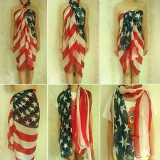 Women Pareo Dress Sarong Beach Bikini Swimwear Cover Up Scarf Wrap American Flag