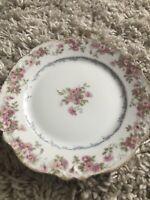"Three 6"" Limoges CH Field Haviland Pink Rose Bread Plates Like New Gold Trim"