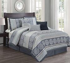 Hillsbro 7 Piece Grand Rome Slate Blue Pollows Shams Comforter Set Full Size