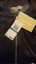 MICHAEL KORS Genuine DERBY GREY Zip Gold Logo Velour Bomber TRACK Jacket XL NWT