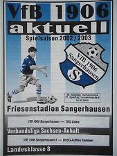 Programm 2002/03 VfB 1906 Sangerhausen - TSG Calbe