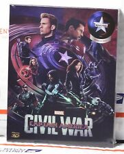 NEW CAPTAIN AMERICA CIVIL WAR 3D+2D BLU-RAY STEELBOOK! FULL SLIP A! NOVA CH#13!