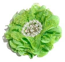 "Lime green 3.5"" lace chiffon ruffle flower w/ rhinestone & pearl center"