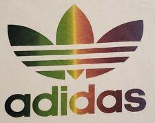 Vintage 80's Adidas Men's Size Medium Rainbow Trefoil White Ringer T-Shirt EUC