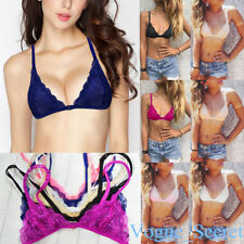Floral Sheer Triangle Front Close Unpadded Bra Bikini Lingerie Lace Bralette Bra