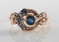 DIVINE 9K 9CT ROSE GOLD BLUE SAPPHIRE & PEARL SUN & MOON RING FREE RESIZE