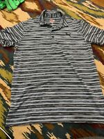 Mens Puma Black Grey Striped Golf Short Sleeve Polo, Striped, Size Medium